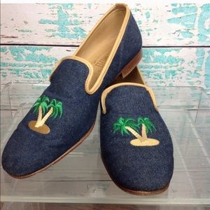 Maus & Hoffman Denim Palm Trees Loafers Shoes 9.5
